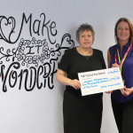 Carol Spencer, Franke's Customer Service Manager with Alison Ward-Foster receiving the cheque for Ashgate Hospicecare